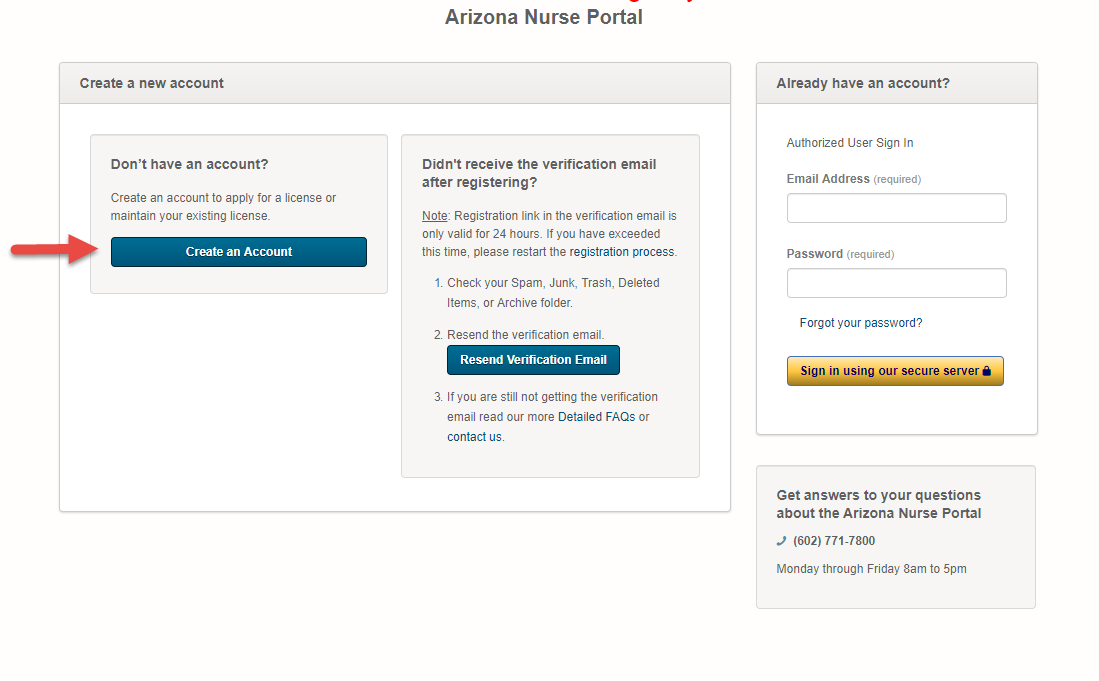 Register for an account at the Nurse Portal